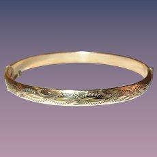 Vintage Gold Filled Hinged Bangle Chased Design