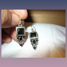 Vintage Earrings Sterling Black Onyx