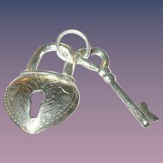 Vintage Pendant Sterling heart Lock Key