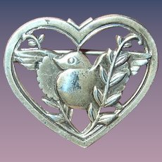 Vintage Sterling Brooch by Coro Heart Dove