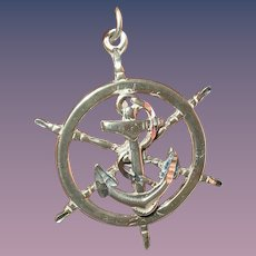 Vintage Pendant Sterling Ship Wheel Anchor