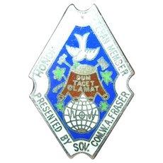 Vintage Veteran Honor Badge Sterling Enamel WOW