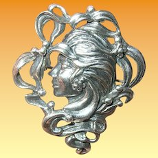 Edwardian Sterling Brooch Ladies Head
