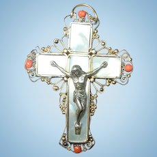Edwardian Pendant Cross Coral Silver Mother of Pearl
