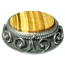 Vintage Sterling Pill Box Tiger's Eye