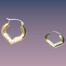 Vintage Earrings Sterling Vermeil Faux Diamonds