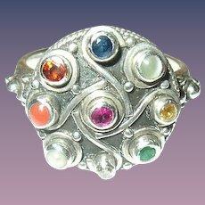 Vintage Ring Sterling Semi-Precious stones