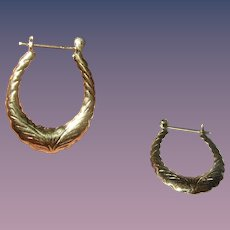 Vintage Hoop Earrings Sterling Vermeil Chased