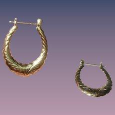 Vintage Hoop Earrings Sterling Vermeil Chased