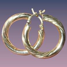 Vintage Sterling Vermeil Hoop Earrings