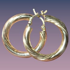 Vintage Sterling Vermeil Hoop Earrings