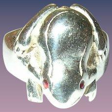 Vintage Ring Sterling Frog Garnet
