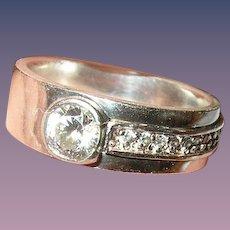 Vintage Ring Sterling Faux Diamonds Modernist