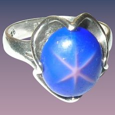 Vintage Sterling Ring Faux Star Sapphire