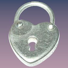Vintage Sterling Heart Lock Charm
