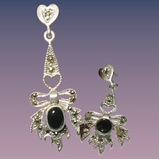 Vintage Drop Earrings Sterling Marcasite