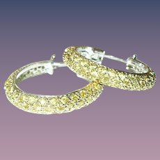 Vintage Earrings Hoops Sterling Vermeil Faux Yellow Diamonds