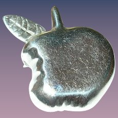Vintage Sterling Brooch Pendant Apple