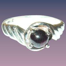 Vintage Sterling Cabochon Garnet Ring