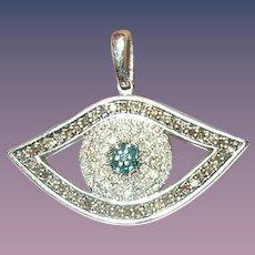 Vintage Pendant Eye Sterling Diamonds