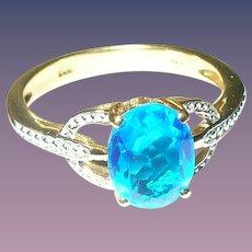 Vintage Ring Sterling Vermeil Blue Tanzanite