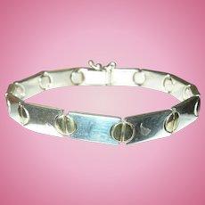 Vintage Link Bracelet Sterling Screw Head Design