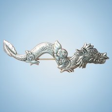Vintage Sterling Brooch Dragon