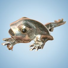 Vintage Sterling Brooch Frog