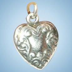 Vintage Sterling Puffy Heart Charm