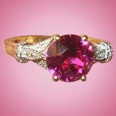 Vintage Sterling Vermeil Ring Faux Rubies