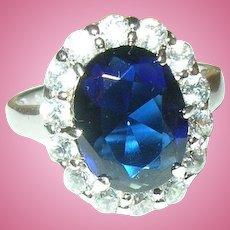 Vintage Sterling Ring Faux Sapphire Diamonds
