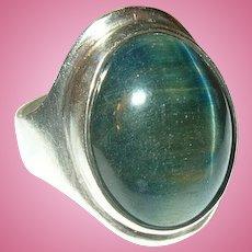 Vintage Sterling Ring Mid Century Labradorite