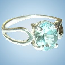 Vintage Sterling Ring Blue Topaz