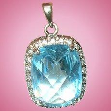 Vintage Sterling Pendant Lg Faux Topaz Diamond