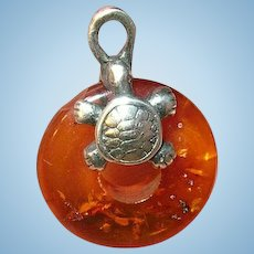 Vintage Sterling Amber Charm Turtle