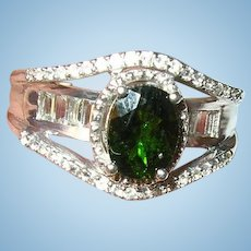 Vintage Sterling Ring Green Tansanits