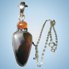 Vintage Necklace Pendant Moss Agate Sterling Carnelian