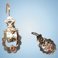 "Antique 10K Drop Earring""s  1860 Taille D' Epargne"