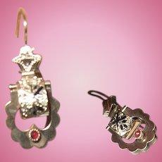 "Antique 10K Drop Earring""s  1860 Taille D' Epargne"