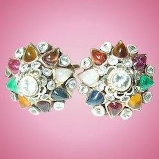 Vintage 14K Dome Earring's Semi precious Stone's