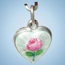 Vintage Sterling Puffy Heart Charm Guilloche Enamel