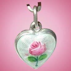 Vintage Sterling Puffy Heart Charm Guilloche Enamel