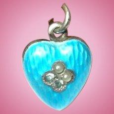 Vintage Puffy Heart Sterling Guilloche Enamel Charm