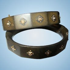 Antique 14K  Gutta Percha Bracelet 1860's Set