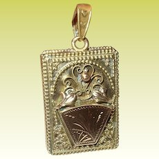 Antique Locket Book Pendant Gold Filled