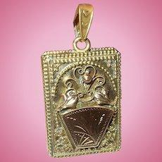 Antique Locket Book Pendant Gold Filled