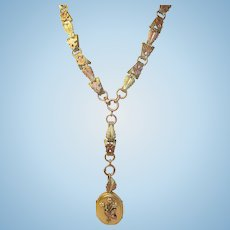 Antique Victorian 2 Tone Gold Book Chain Locket Pendant Very Rare