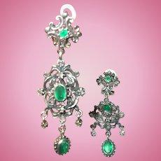 Georgian Silver Drop Earrings Faux Emerald Table Cut Diamonds