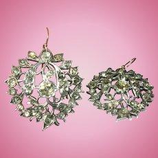 Georgian Drop Earrings Faux Rose Cut Diamonds