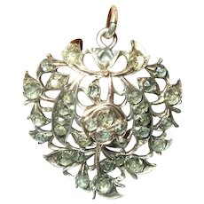 Georgian Silver 18K Pendant Faux Rose Cut Diamonds